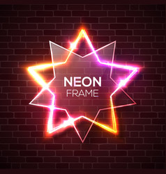stars background with neon lights on brick wall vector image
