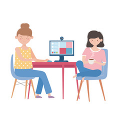 Stay at home meeting online women with computer vector
