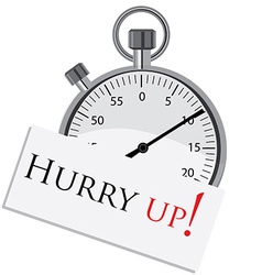 Stopwatch with text hurry up vector image