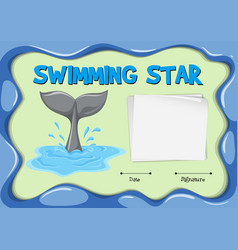 swimming star certificate with dolphin tail vector image