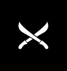 sword cross icon on black background black flat vector image