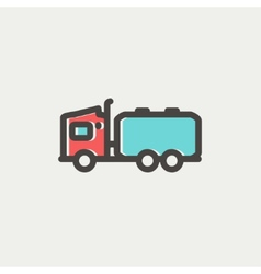 Tanker truck thin line icon vector image