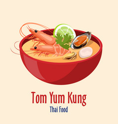 Tom yum kung - red bowl with tasty seafood soup vector