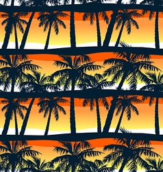 Tropical palms trees at sunset in a seamless vector image