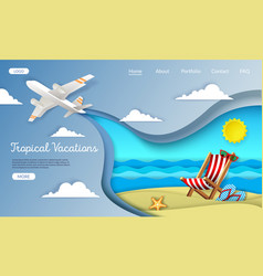 tropical vacations website landing page vector image