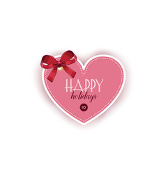 valentine day card template with ribbon bow vector image
