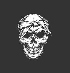 Vintage brutal skull with bandage vector