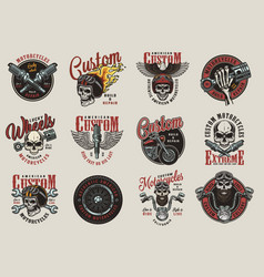 vintage colorful motorcycle emblems vector image