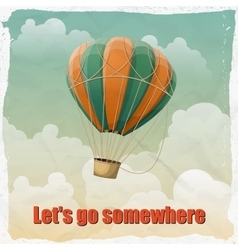 Vintage hot air balloon in sky vector