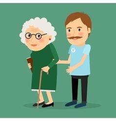 Volunteer man caring for elderly woman vector image