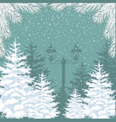 winter background snowfall fir trees and vector image