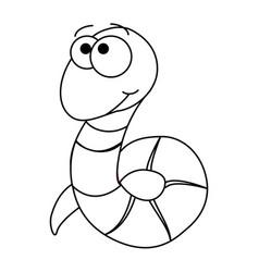 Colorless funny cartoon worm vector