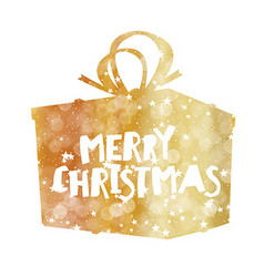 Merry Christmas Golden Gift Box Stars and vector image vector image
