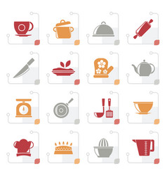 stylized restaurant and kitchen items icons vector image vector image