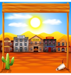 Wild west town panorama background vector image