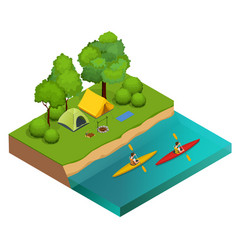 isometric camping on the river bank tents vector image vector image