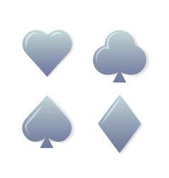 silver playing cards symbols set on white vector image