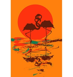 with pair of flamingos in love vector image