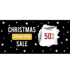 Christmas Sale banner on black background with 50 vector image vector image