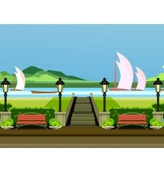 City park benches vector image