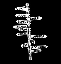 Direction signs different countries isolated vector