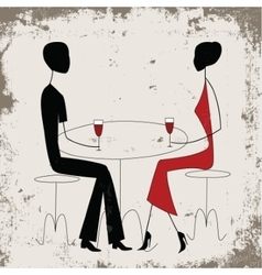 Man ad woman in a restaurant vector image vector image
