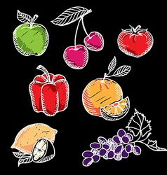 Chalkboard fruit set vector image