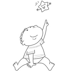 Coloring Child and star coloring vector image vector image