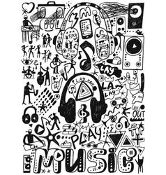 Music doodles set vector image vector image