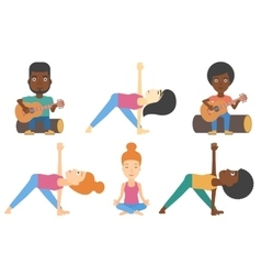set of tourists and people practicing yoga vector image