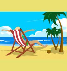 Woman sitting in deck chair on tropical beach vector