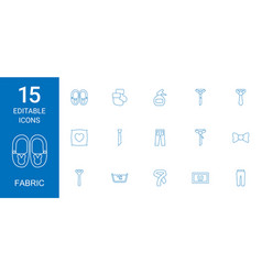 15 fabric icons vector image