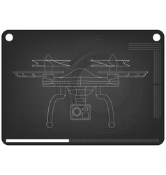 3d quadcopter model on a black vector