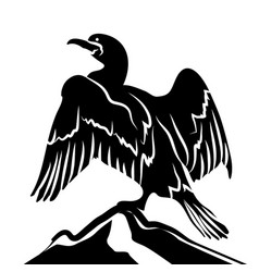 abstract cormorant in black and white vector image