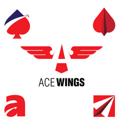 Ace wings symbol set vector