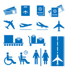 Airline colourless signs set passports vector