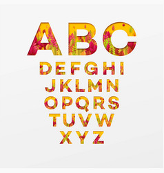 Alphabet letters made from autumn leaves vector