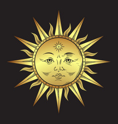 antique style gold sun hand drawn line art boho vector image