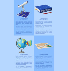 astronomy poster with telescope books on geography vector image