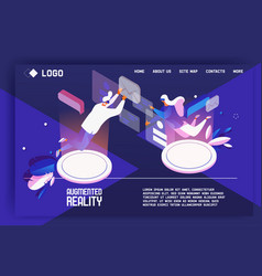 augmented reality landing page concept template vector image