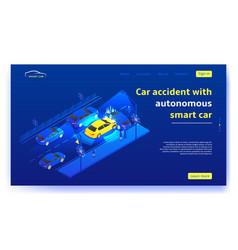 Autonomous smart car concept web banner vector