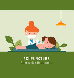 Back pain acupuncture alternative healthcare vector