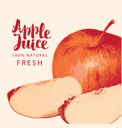 Banner for apple juice with apple and inscription vector