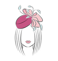 beautiful young girl in a festive hat with a bow vector image