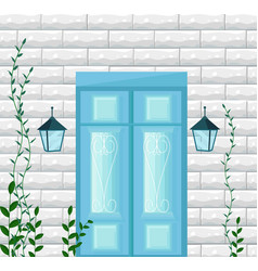 blue door entrance facade vector image