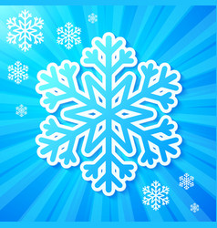 Blue paper snowflake on striped background vector