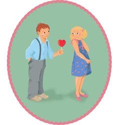 Boy girl and a lollipop look like heart shape vector image