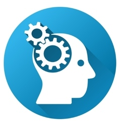Brain Gears Gradient Round Icon vector