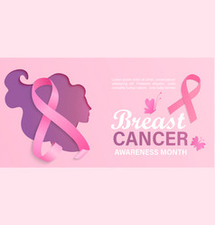 breast cancer awareness month card flyer vector image
