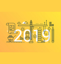 building and construction 2019 word trendy vector image